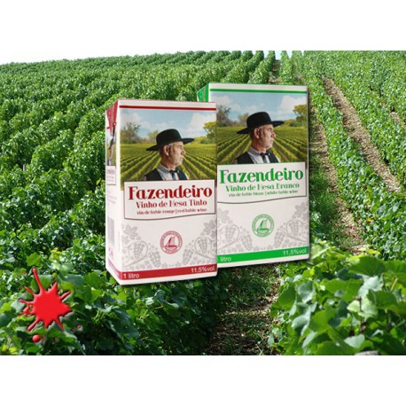 Fazendeiro pack with Red or White Wine 1L