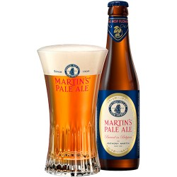 Martin's Pale Ale beer bottle and glass with beer