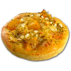 Mini Focaccia from Milano with peach and rosemary 75g